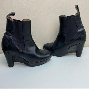John Fluevog Leather Heel Ankle Boots